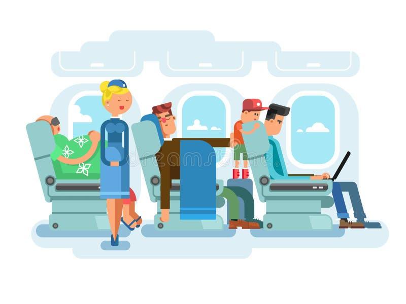 Interior of plane flat design. Transportation passenger, transport vector illustration stock illustration