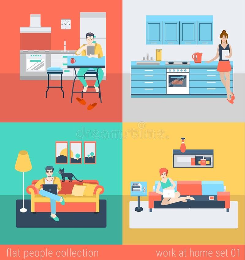 Interior plano de la gente del vector en casa en la cocina, sofá de la sala de estar stock de ilustración