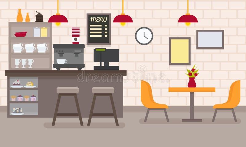 Interior plano del café del vector ilustración del vector