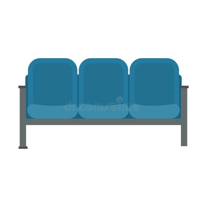 Interior plano del vector de la silla que espera del icono del negocio del sitio del aeropuerto azul de los muebles Aeroplano del stock de ilustración