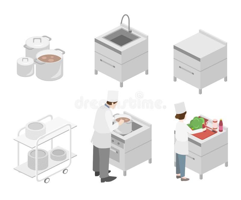 Interior plano isom trico 3d de la cocina profesional del for Plano de cocina profesional