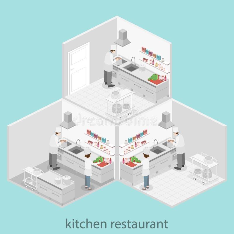Interior Plano Isométrico 3D De La Cocina Profesional Del ...