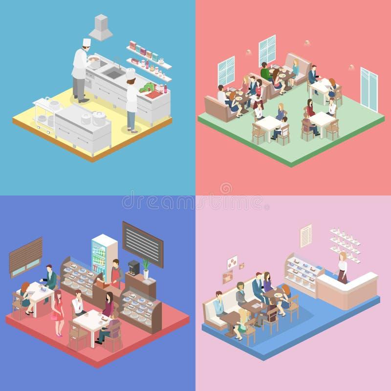 Interior plano isométrico de la cocina de la dulce-tienda, del café, de la cantina y del restaurante ilustración del vector