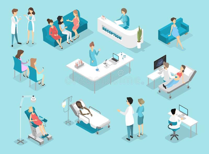 Interior plano isométrico de los procedimientos de ginecología en hospital stock de ilustración