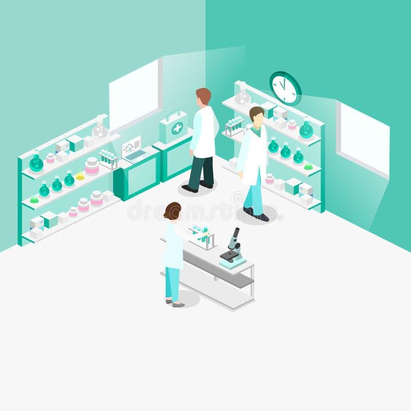 Interior plano isométrico del concepto 3D del laboratorio de ciencia libre illustration