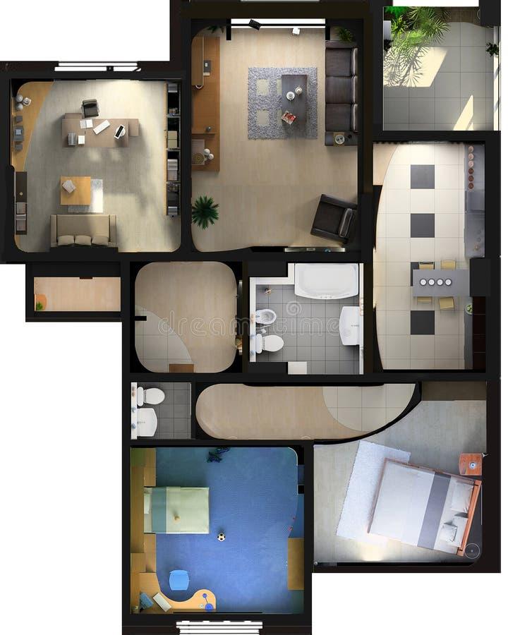 Interior plano moderno ilustración del vector