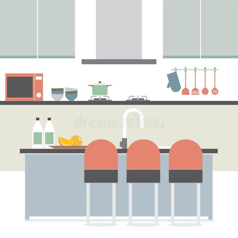 Interior plano moderno de la cocina del diseño ilustración del vector