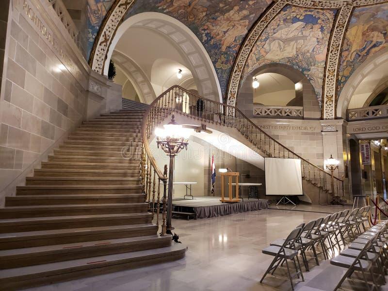 Interior planta los E.E.U.U. del edificio del capitol del estado de Missouri de la primera fotografía de archivo libre de regalías
