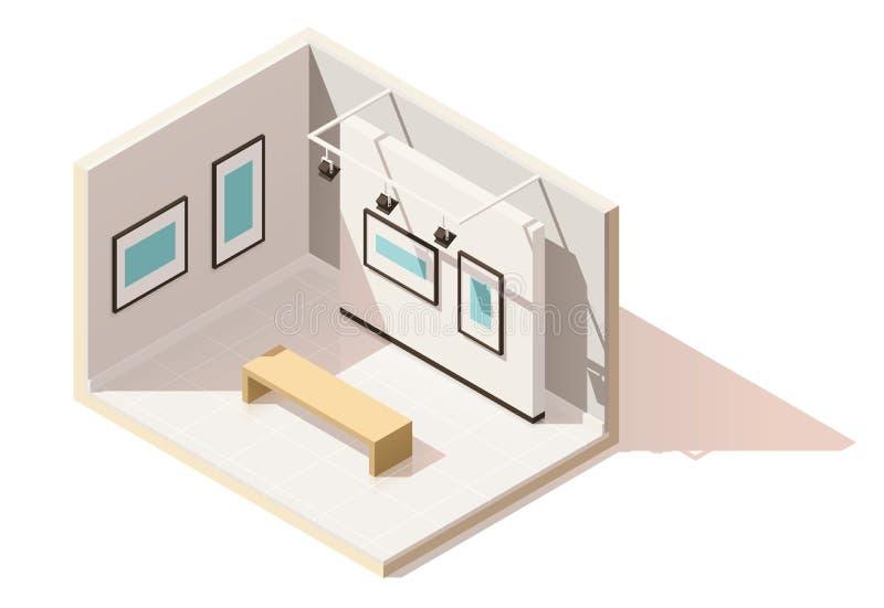 Interior poli isométrico do museu do vetor baixo ilustração stock