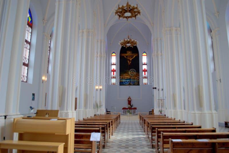 Interior of the Polish Catholic Church in the city of Samara  (architect Bogdanovich F.O.), built in 1906. Catholic, church, polish, russia, samara, city, fo stock image