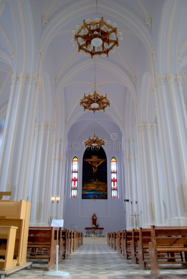Interior of the Polish Catholic Church in the city of Samara  (architect Bogdanovich F.O.), built in 1906. Samara, Russia - September 27, 2018: Interior of royalty free stock photo