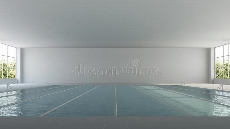 The interior of the pool. Indoor sport lap pool. stock image