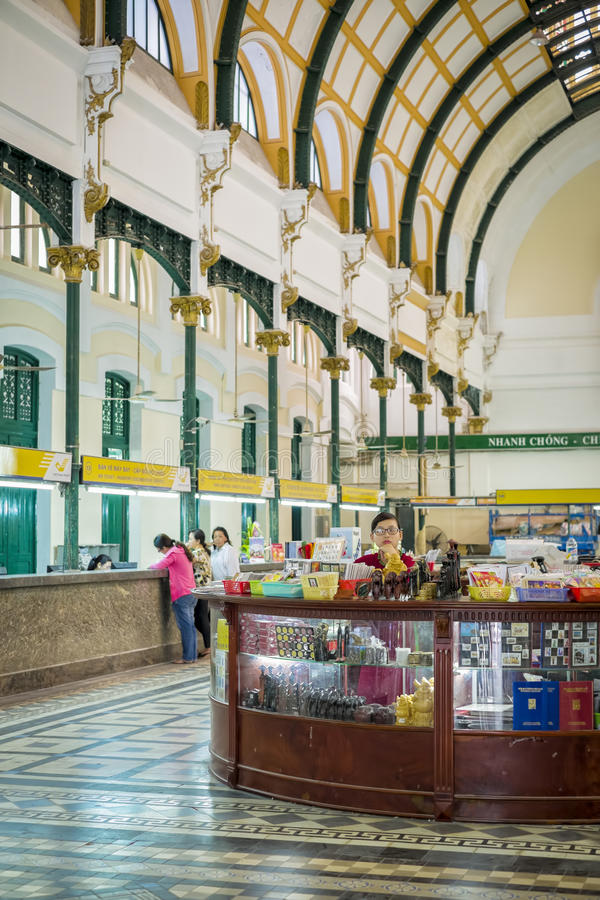 Interior, Post Office, Ho Chi Minh City stock images