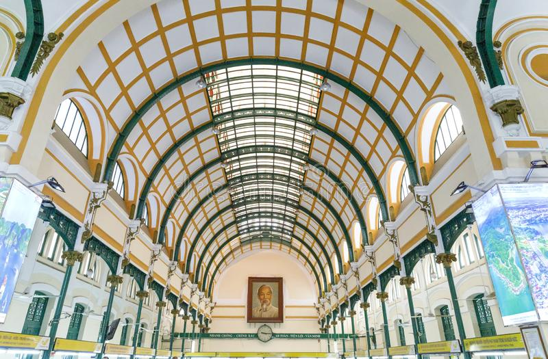 Interior of post office in Saigon, Vietnam. SAIGON, VIETNAM - FEBRUARY 23, 2018: Interior of post office in Saigon, Vietnam royalty free stock photo