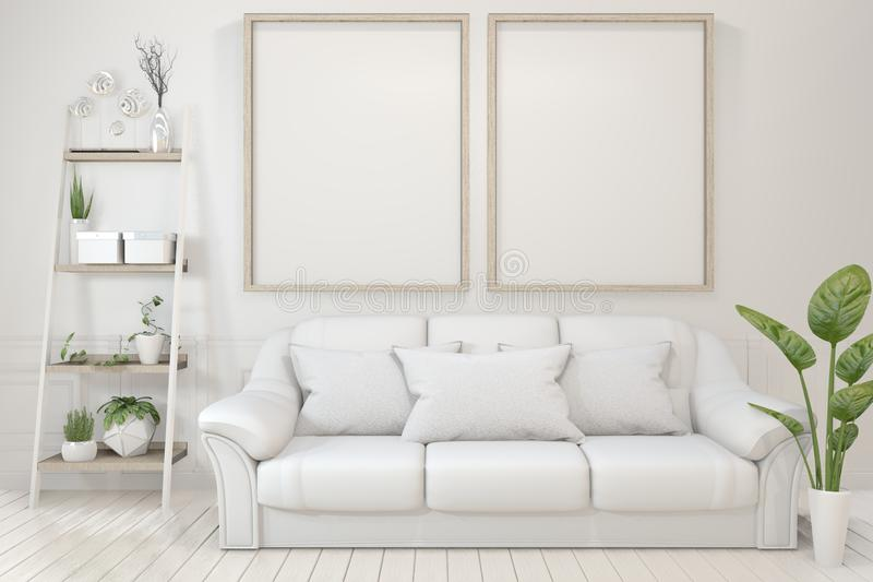 Mock up Interior poster mock up with  empty wooden frames, sofa, plant and lamp in empty room with white wall. 3D rendering. Interior poster mock up with  empty royalty free illustration