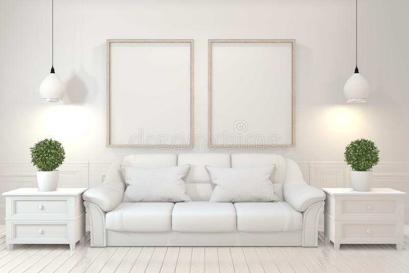 Mock up Interior poster mock up with  empty wooden frames, sofa, plant and lamp in empty room with white wall. 3D rendering. Interior poster mock up with  empty vector illustration