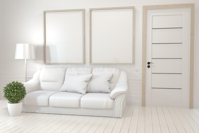 Mock up Interior poster mock up with  empty wooden frames, sofa, plant and lamp in empty room with white wall. 3D rendering. Interior poster mock up with  empty stock illustration
