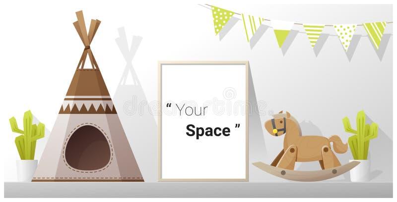 Interior poster mock up frame in child room vector illustration