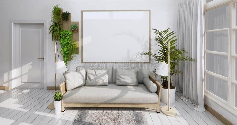 Interior poster mock up with frame, sofa, plant and lamp in living room zen style. 3D rendering stock photography