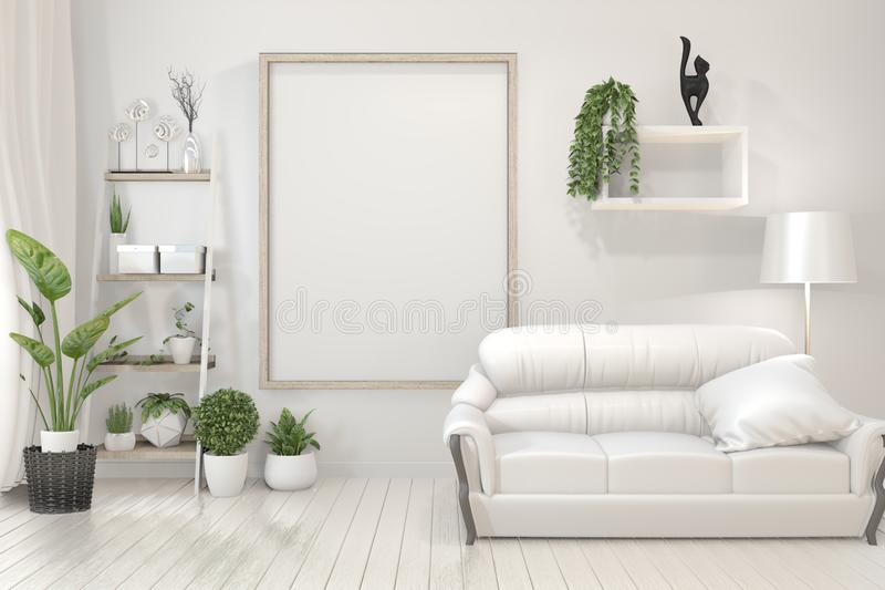 Mock up Interior poster mock up wooden frames, sofa, plant and lamp in living room with white wall minimal design. 3D rendering. Interior poster mock up wooden vector illustration