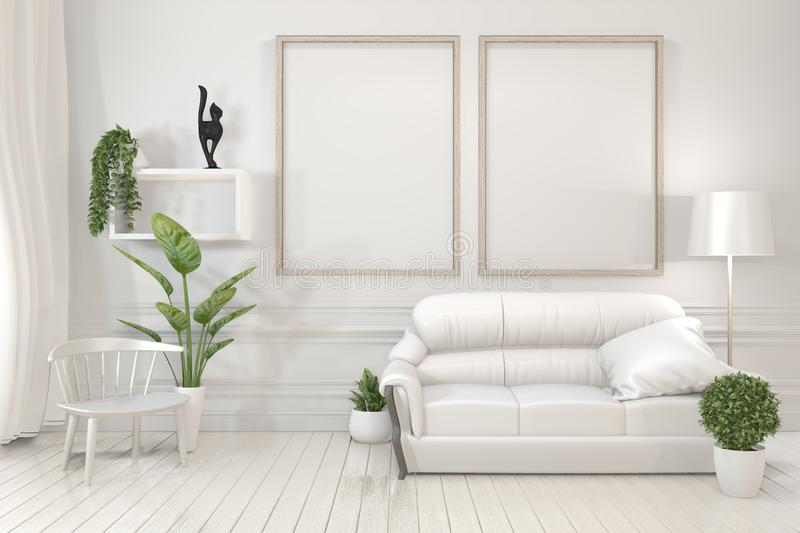 Interior poster mock up wooden frames, sofa, plant and lamp in living room with white wall minimal design. 3D rendering stock photo