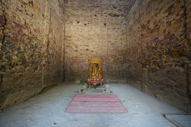 An interior of Prasat Tao in Sambor Prei Kuk in Cambodia. Kampong Thom, Cambodia-January 12, 2019: An interior of Prasat Tao in Sambor Prei Kuk in Cambodia stock image