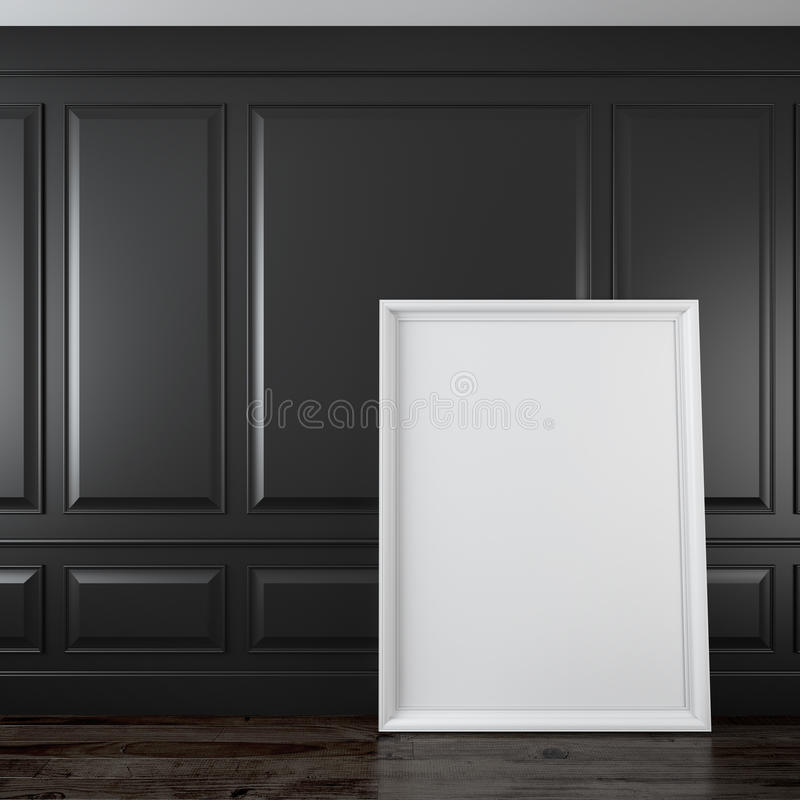 Interior preto clássico com quadro ilustração do vetor