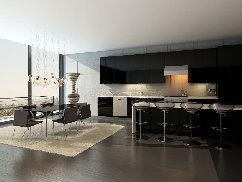 Interior preto da cozinha com tamboretes e mesa de jantar de barra ilustração do vetor