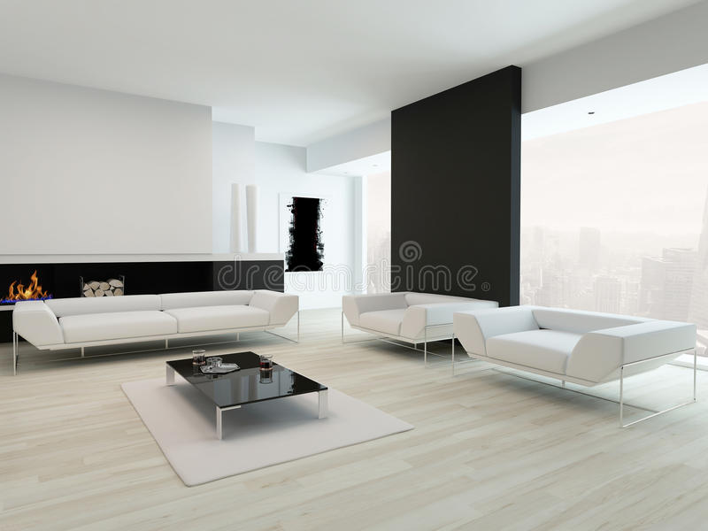 Interior preto e branco luxuoso da sala de visitas ilustração royalty free