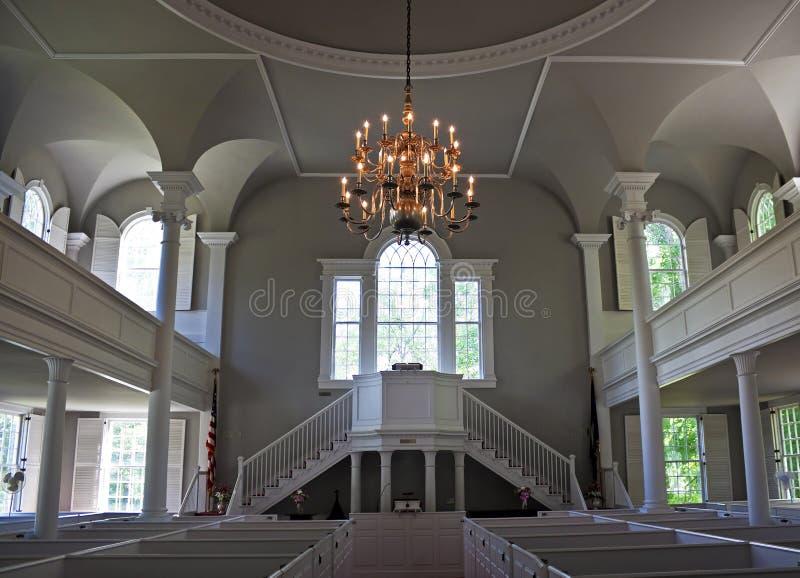 Interior, primeira igreja velha, Bennington, Vermont imagens de stock