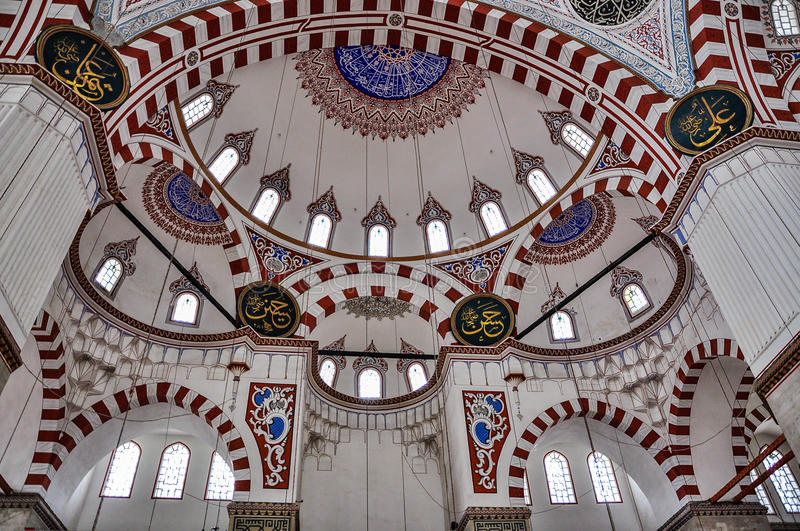 Interior of Prince Mosque, Sehzade Camii, Istanbul, Turkey stock image