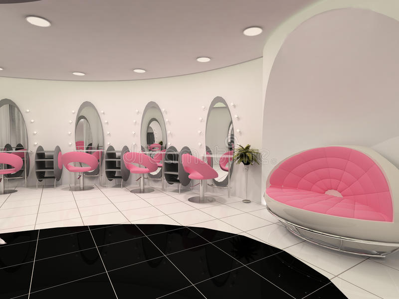Interior of Professional beauty salon royalty free illustration