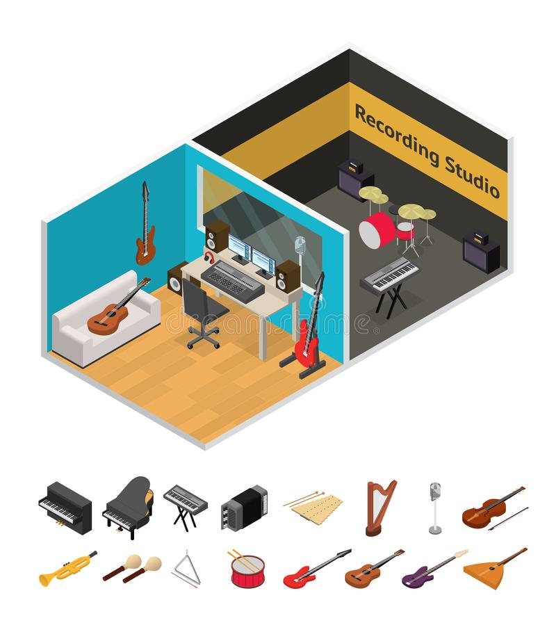 Interior Recording Studio Isometric View. Vector stock illustration