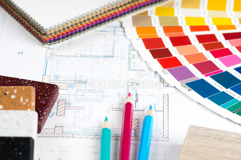 Interior project with palette, material samples, pencils 2 royalty free stock photography