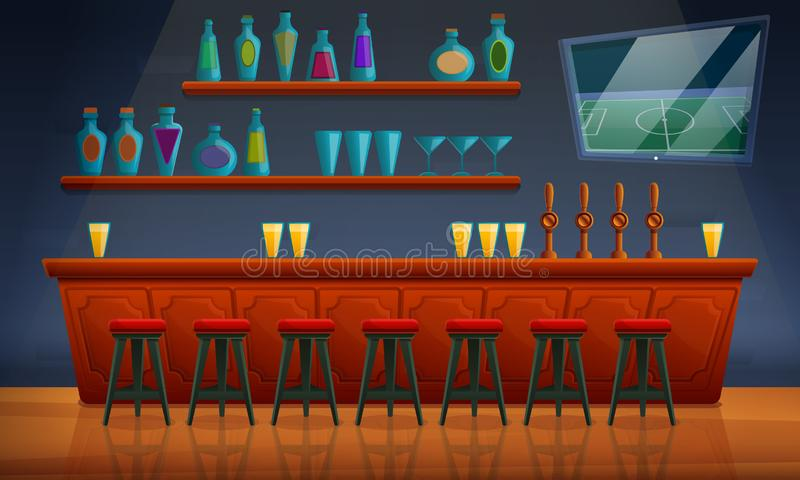 Interior of a pub with chairs and an assortment of alcohol. Vector illustration vector illustration