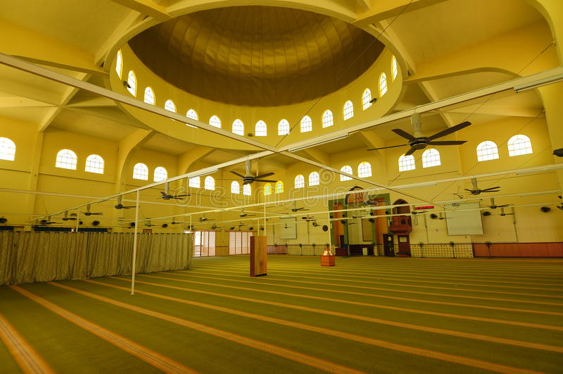 Interior of Putra Nilai Mosque in Nilai, Negeri Sembilan, Malaysia. Negeri Sembilan, Malaysia – March 06, 2014: Putra Nilai Mosque was located at Nilai royalty free stock photography