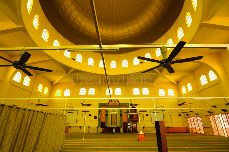 Interior of Putra Nilai Mosque in Nilai, Negeri Sembilan, Malaysia. Negeri Sembilan, Malaysia – March 06, 2014: Putra Nilai Mosque was located at Nilai royalty free stock images