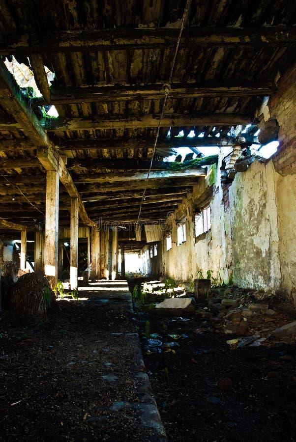 Interior que se derrumba del granero fotografía de archivo libre de regalías
