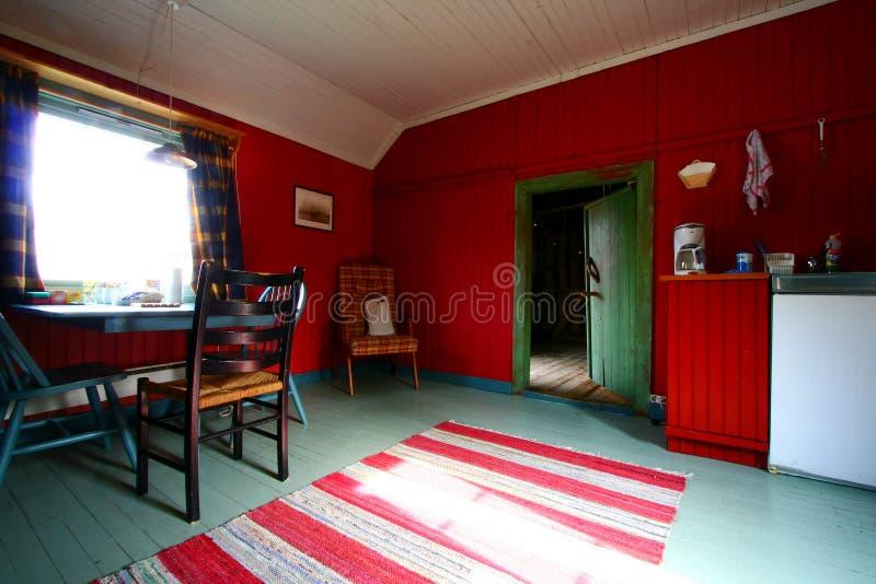 Interior rústico vermelho e verde imagem de stock royalty free