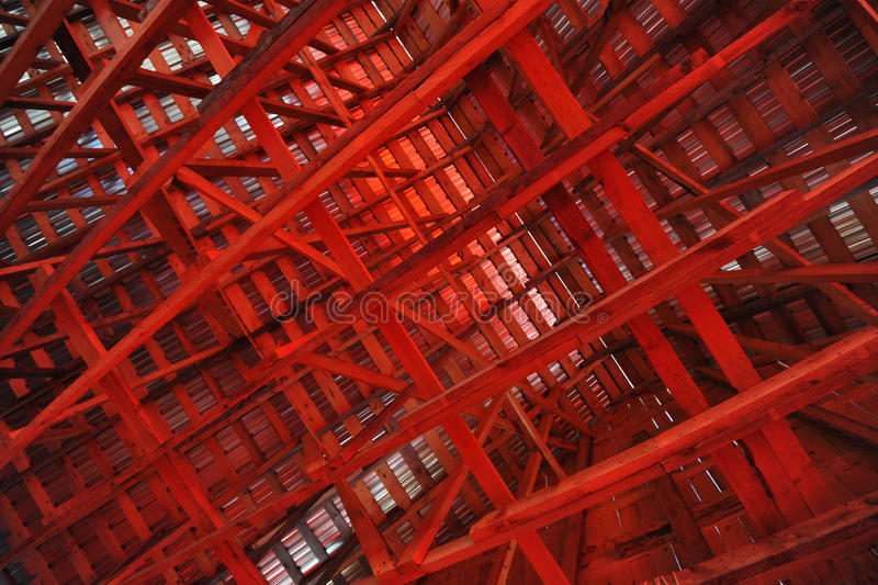 Interior Rafters of a Barn stock photography