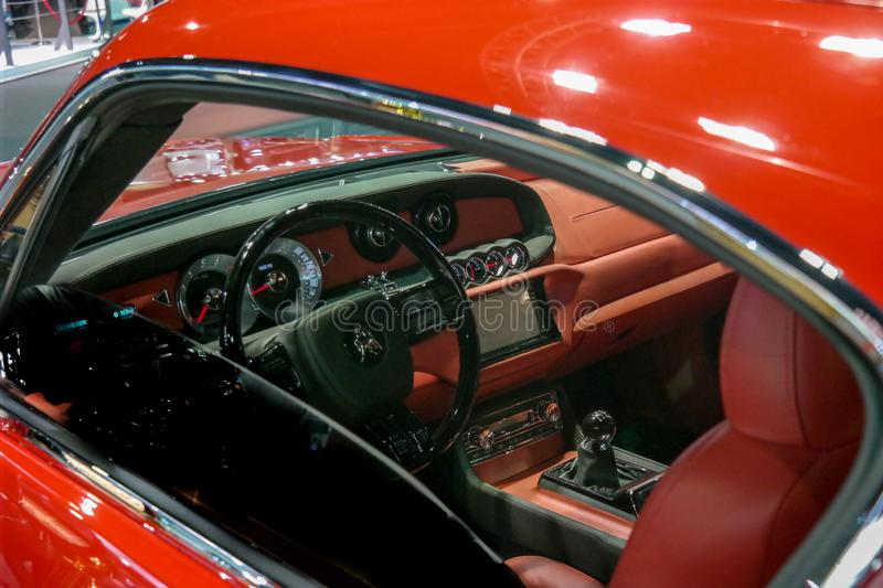 Interior of a rare modern american muscle sports car with vintage design royalty free stock photography