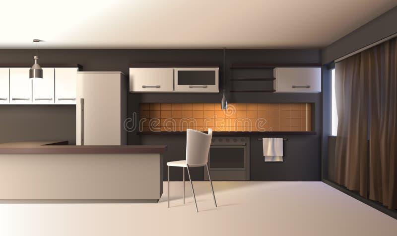 Interior realístico da cozinha moderna ilustração do vetor