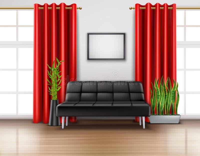 Interior realístico das cortinas vermelhas luxuosas ilustração royalty free