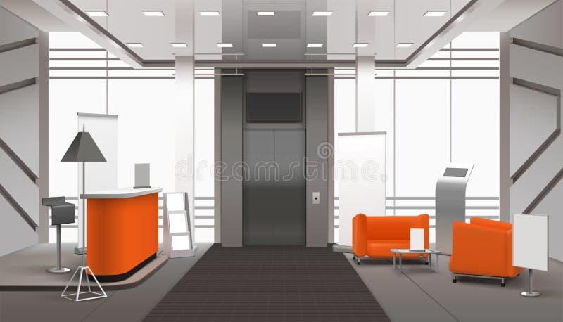 Interior realista del pasillo stock de ilustración