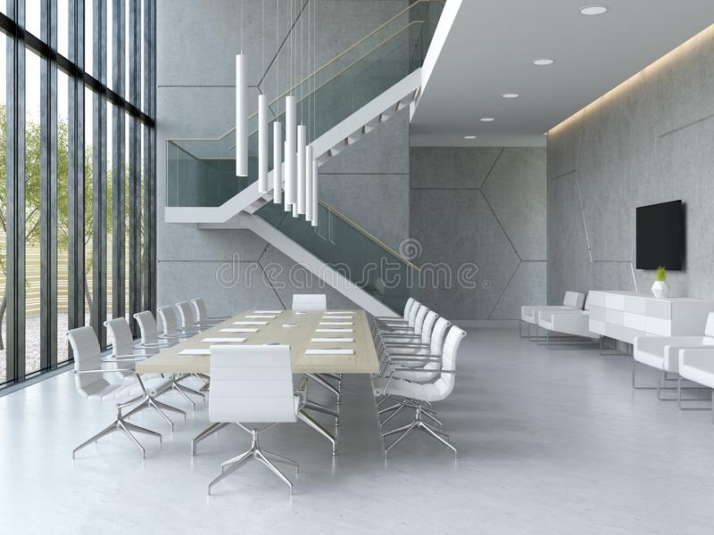 Interior of reception and meeting room 3D illustration. Interior of reception and meeting room 3 D illustration royalty free illustration