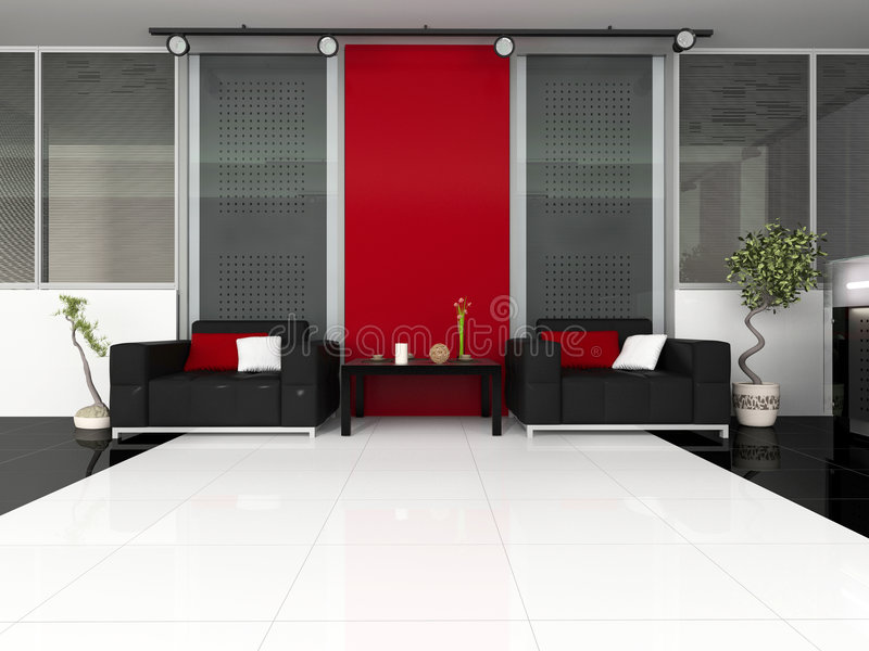 Interior of a reception zone at office stock illustration