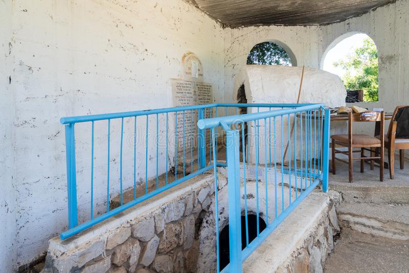 The interior of the reconstructed tomb Rabbi Nakhman Katufa near the kibbutz Baram in Western Galilee in Israel stock photography