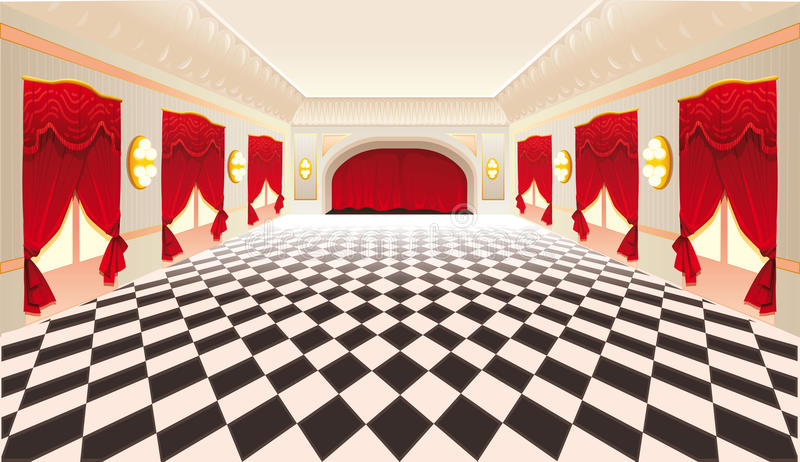 Interior with red curtains and tiled floor. stock illustration