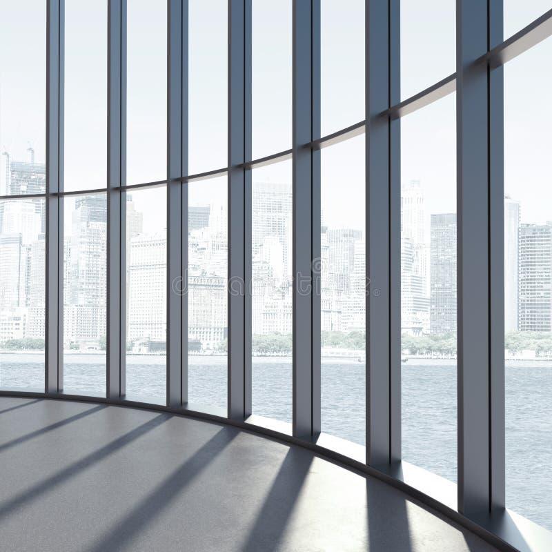 Interior redondo com grandes janelas e luz solar ilustração do vetor