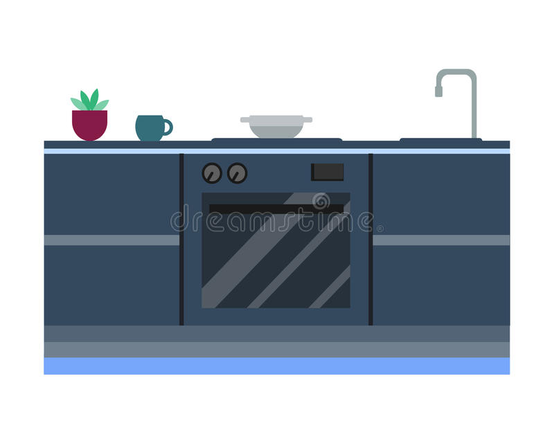 Interior residencial de la cocina moderna en la mansión de lujo Ejemplo moderno del vector de los muebles de la arquitectura de l stock de ilustración